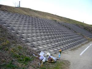 坂道ダッシュが行われた堤防の斜面