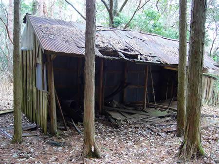 越畑スキー場跡の壊れた小屋(かつての売店?)
